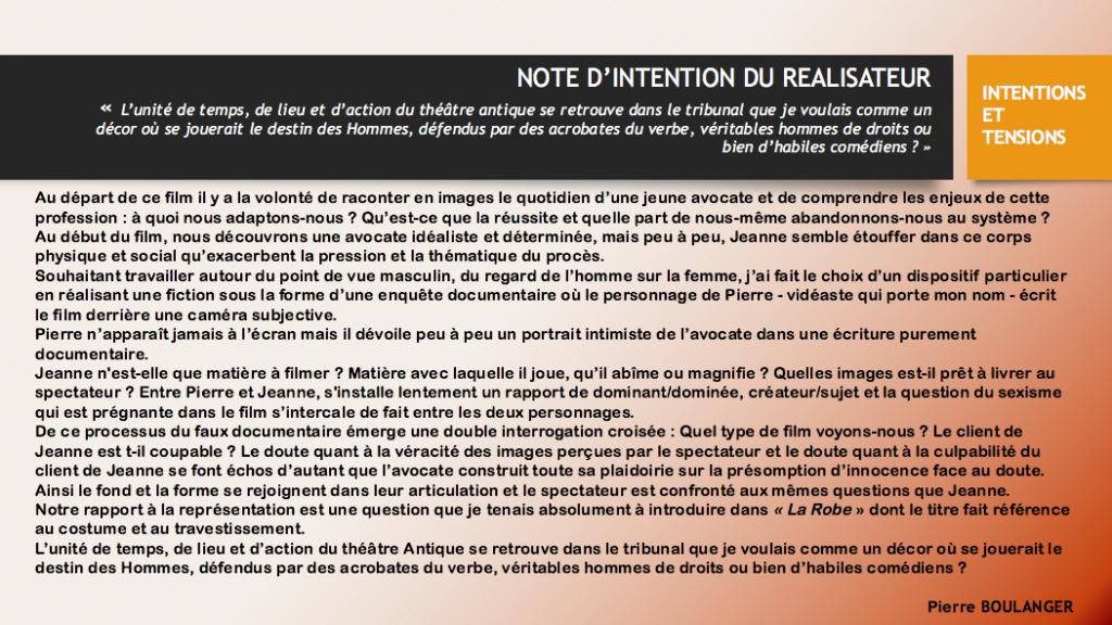 PRESS KIT - INTENTIONS DE REALISATION